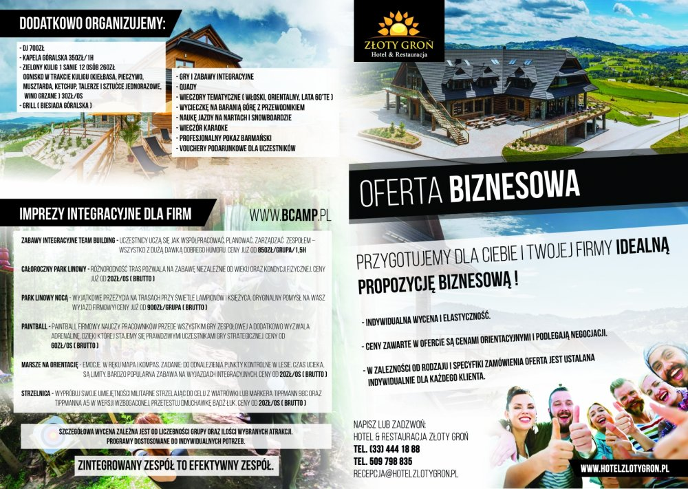 Buisness offer in Złoty Groń hotel - leaflet march-june